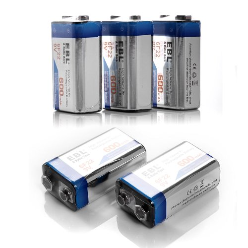 5 Pack Ebl® 600Mah 9V 9 Volt Li-Ion Lithium-Ion Rechargeable Batteries For Wireless Microphone, Smoke Detector/Alarm, Rc/Remote Control, Radios ,Toys And More