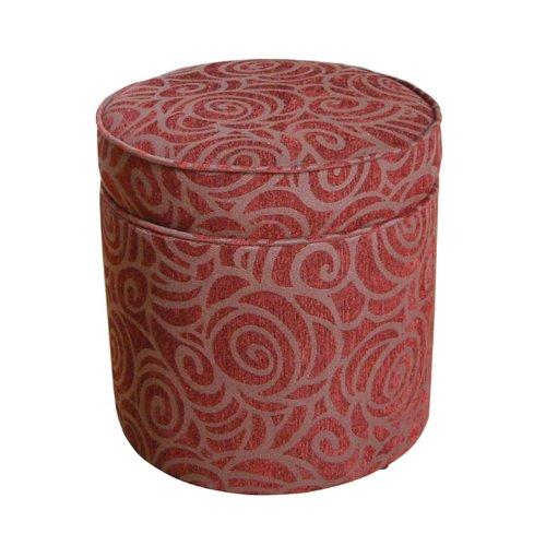 Kinfine USA K3211-F1045 Classic Design Round Storage Ottoman Chenille Swirl, Red