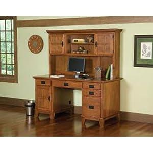 O Deals Home Style 5180 184 Arts And Crafts Double Pedestal Desk And Hutch Cottage Oak Finish Home Office Desks Home Office Desks