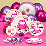 Owl Blossom Party Supplies - Baby Shower Standard Pack for 8