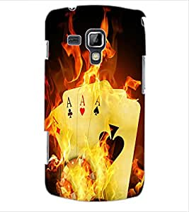 ColourCraft Cards on Fire Design Back Case Cover for SAMSUNG GALAXY S DUOS 2 S7582