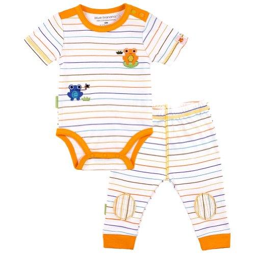 Kushies Little Lizard Pant Sets (00 - Preemie, Blue Stripe) front-293518
