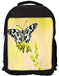"""Snoogg Black And Grey Butterfly Casual Laptop Backpak Fits All 15 - 15.6"""" Inch Laptops"""