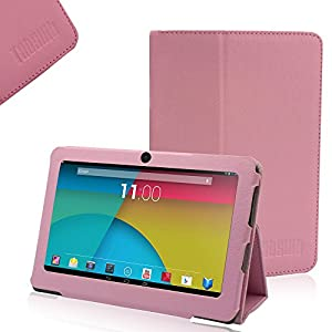 TabSuit® Pink PU Leather Case Stand Cover for 7'' Dragon Touch Y88X/Y88, KingPad K70, NeuTab N7/ N7 Pro, Chromo, ProntoTec, iRulu, Zeepad, Alldaymall w/ Dual Camera (Please check the product list in the description)