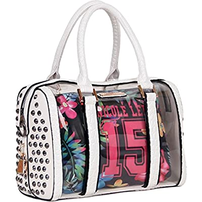 Nicole Lee 15 Print Studded Embellished Clear Boston Bag