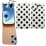 Samrick Premium Polka Dots Specially Designed Leather Flip Case, Screen Protector, Microfibre Cloth and High Capacitive Mini Stylus Pen for Samsung i9300 Galaxy S3/Galaxy S3 LTE 4G - White/Black