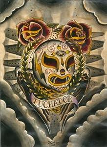 by Joshua Gargalione Mexican Wrestling Mask Tattoo Canvas Art Print