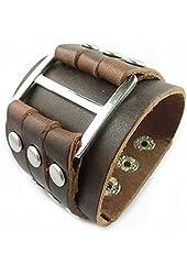 Coffee Men's Cool Wide Big Buckle Rivet Genuine Leather Cuff Wristband Bracelet Bangle