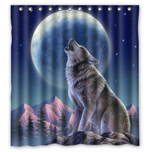 Custom Howl Wolf Shower Curtain 66