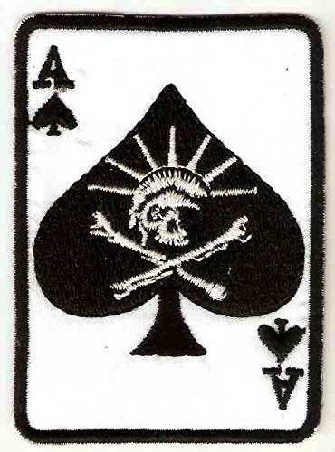 2.25 X 3.25 inches skeleton SKULL Ace of Spade card statue Liberty Embroidered Iron On / Sew On Patch Applique