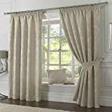 Heavy Jacquard Lined Curtains CREAM IVORY VANILLA Pencil Tape Top 46 66 90 108 PAIR Size : 66x72