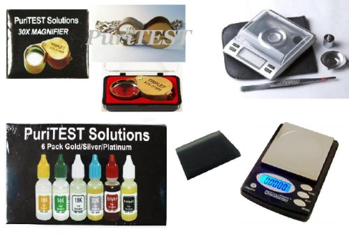 Jewelry Store Supply- Digital Diamond Scales, Scrap Jewlery Scales, Magnifying Glasses, and Gold Silver Platinum Test Kit-Double Wholesale Set