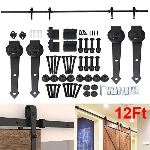 Yaheetech 12Ft Black Antique Style Double Sliding Barn Wood Door Closet Hardware Track Kit System Set (Closet Doors Hardware compare prices)