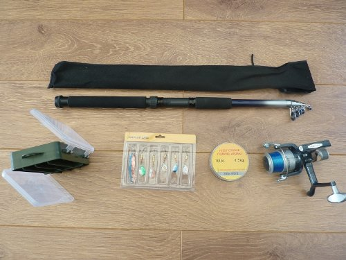 FISHING COMBO / SET - 9 ft telespin fishing rod, spinning reel, spool of fishing line, 6 fishing lures - what a great christmas present - hurry while stocks last