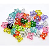 100 X MIXED ACRYLIC BUTTERFLY BEADS 11 X 9 MM - (Crafts - Jewellery Making Beads - Fashion Charms - Jewelry Accessories - Jewellery Findings 1s)