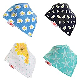 Zippy Fun Baby and Toddler Bandana Bib - Absorbent 100% Cotton Front Drool Bibs with Adjustable Snaps (4 Pack Gift Set) Girls Blues Set