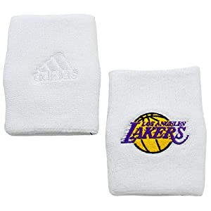adidas Los Angeles Lakers 2-Pack White Terry Cloth Wristbands by adidas