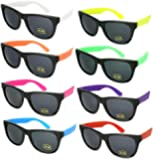 8 Pack 80's Neon Wayfarer Plastic Sunglasses with UV Protection 5402RA-SET-8