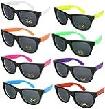 8 Pack 80's Neon Wayfarer Plastic Sunglasses with UV Protection 5402RA-SET-8