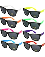 Edge I-Wear 8 Pack 80's Neon Wayfarer Sunglasses with 100% UV Protection 5402R-SET-8