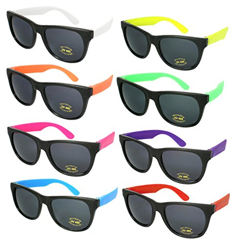 8 Pack 80's Neon Horned Rim Plastic Sunglasses with UV Protection 5402RA-SET-8
