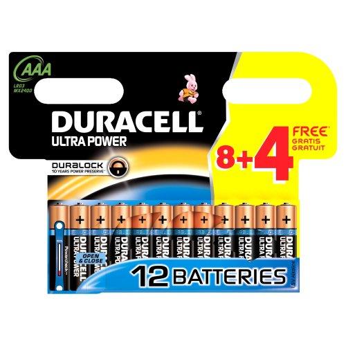 Jeu de piles 8 + 4 gratuites Alcaline 1.5 V LR03, AAA DURACELL Ultra DUR002821-Pile alcaline, saline, lithium