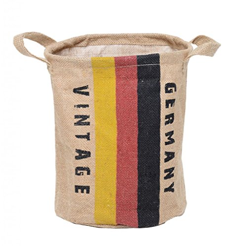 GreenForest® Linen Laundry Storage Basket Round Basket with German Flag 9.4x11.8 Inches, Natural
