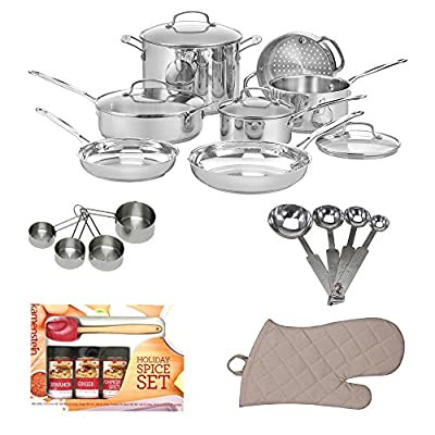 Cuisinart 77-11G Chef's Classic Stainless 11-Piece Cookware Set + Kitchen Textiles 3-Pack + Mini Spatula Spice Set + Heavy-Duty Stainless Measuring Cup Set + Stainless Steel Measuring Spoon Set