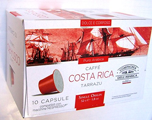 Choose Nespresso Compatible Capsules SINGLE ORIGIN Compagnia dell'Arabica - COSTA RICA TARRAZU - 10 caps / box (TOTAL: 30 caps) from Compagnia dell'Arabica - a Caffe Corsini S.p.A. company Group