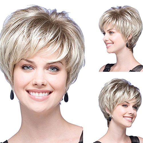 RightOn 12'' Short Fluffy Curly Wig Dark Root Synthetic Hair with Wig Cap/Comb (Brown/Light Blonde) (Dark Blonde Wig)