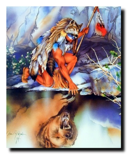Reflection of Indian Warrior Native American Art Print Poster (16x20)