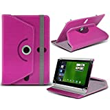 Acer Iconia Tab A500 ( Hot Pink ) Tablet Luxury 360° Rotating PU Leather Wallet Spring Stand Skin Case Cover by ONX3
