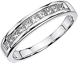 115 Carat ctw 14K White Gold Princess Diamond Ladies Wedding Stackable Ring Band