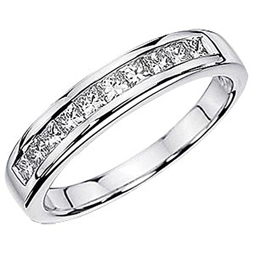 Cheapest 1.15 Carat (ctw) 14k White Gold Princess Diamond Ladies Anniversary Wedding Stackable Ring Band (Size 8.5)
