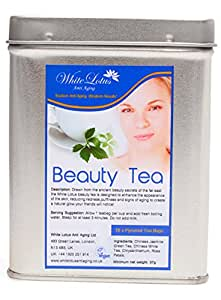 White Lotus Anti aging White Lotus Anti Aging Beauty Tea For Beautiful Skin Premium quality Pyramid Tea Bags Air Tight Tin BY Famous ANTI AGING EXPERTS