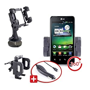 DURAGADGET Stable Motor Vehicle Phone Bracket for LG Optimus G & Optimus 2X P990 + Car Charger