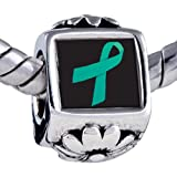 Pugster Bead Teal Ribbon Awareness Beads Fits Pandora Bracelet