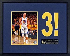 Golden State Warriors Stephen Curry Autographed 3! 8x10 Photo Display Framed (COA) by Sports+Gallery+Authenticated