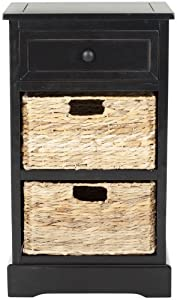 Safavieh American Home Collection Newburgh Storage Side Table, Distressed Black