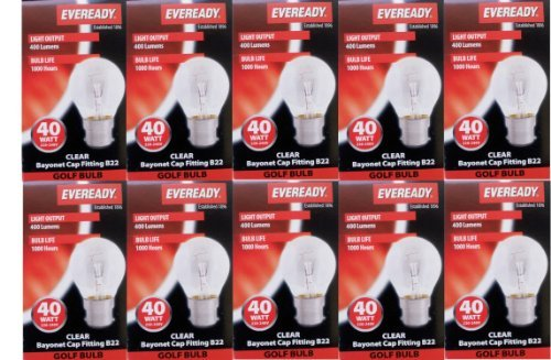 Eveready 10 X Classic Golf Ball 40W, Bc B22 B22D, Clear Round Light Bulbs, Bayonet Cap, Mini Globes Incandescent Dimmable P45/G45 Lamps, Mains 240V - [Eu Specification: 220-240V]