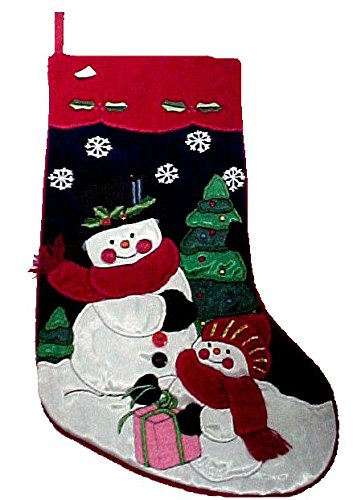Gorgeous Christmas Holiday Velvet and Satin Stocking Snowmen #HP99178