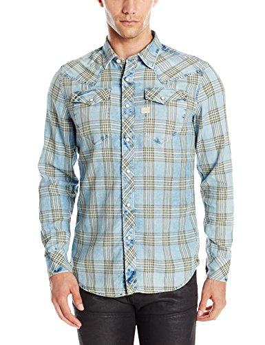 G-STAR RAW Tacoma Shirt l, Camicia Uomo, Blu (Indigo/Dk Bronze Green Check 6555), Medium (Taglia Produttore: Medium)