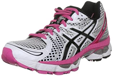 asics gel nimbus 13 womens (white-pink) running shoes