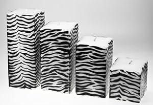 4 39 er set design kerzen blockkerzen im zebra design. Black Bedroom Furniture Sets. Home Design Ideas