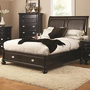 Coaster Valerie Queen Platform Bed in Sheen Black Finish - King Size