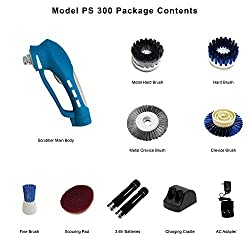 Metapo PS300 Power Scrubber with 2 Super High Capacity 2100mAH NiMH Batteries, 5 Brushes and 1 Scouring Pad for Bathroom, Shower, Kitchen and BBQ Grill