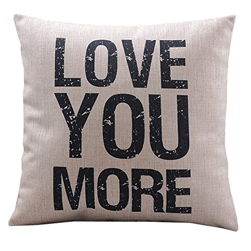 "Create For-Life Cotton Linen Decorative Pillowcase Throw Pillow Cushion Cover Love You More Square 18"" (WHITE, 1)"