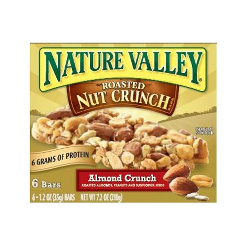 Nature Valley Roasted Nut Crunch Granola Bars, Almond Crunch, 1.2-Ounce, 6-Count Boxes (Pack of 6)