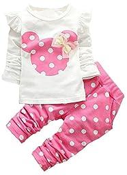 Little Girls Clothes Girls Cute Cartoon Bowknot 13pcs Kids Set T Shirt + Pants Pink 80