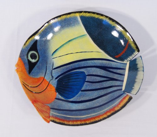 "Handpainted Fruit Plate Blue Wave Tropical Fish Design 6"" front-1060877"